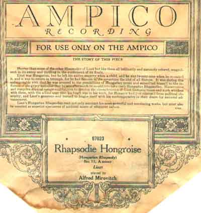 "An Ampico Reproducing roll leader.  ""Hungarian Rhapsody"";  Roll dated January 1927"